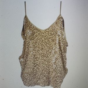 INC Sequin Sleeveless Blouse Gold New Cami Top
